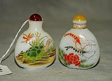 Two Chinese peking glass snuff bottles, H:3
