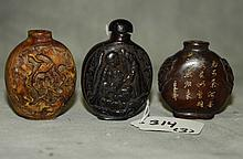 3 Chinese carved snuff bottles. H: 2.50
