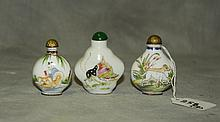 2 Chinese enamel and 1 porcelain snuff bottles 2 have