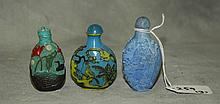 3 Various Chinese snuff bottles. H:2.75
