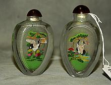 2 Chinese reverse glass painted snuff bottles. H:3.5
