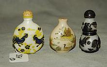 3 Chinese snuff bottles. H:2.5