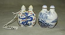 2 double side Chinese snuff bottles, one enamel and one