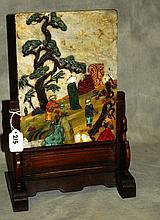 Chinese hardstone mounted wood table screen. H:15