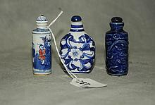3 Chinese porcelain snuff bottles. H:2.75