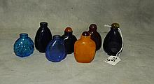 7 Chinese glass snuff bottles. H:3.25