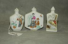 3 Chinese porcelain snuff bottles all with marks on
