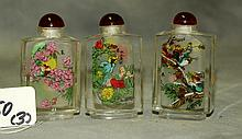 Three Chinese reverse glass painted snuff bottles.H:3