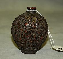 Chinese carved snuff bottle. H:3.25