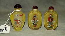 3 Chinese reverse glass snuff bottles. H:3