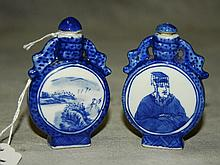 2 Antique Chinese blue and white pocelain snuff bottles