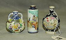 3 Antique porcelain snuff bottles with marks on bottom.