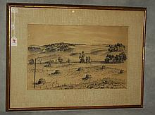 Adolf Dehn, American 1895- pen and ink landscape. H:20