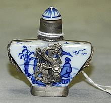 Antique chinese blue and white porcelain snuff bottle