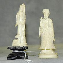 Two Antique chinese ivory figures of wise men. H:4.5