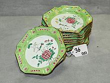 10 Chinese peking enamel ashtrays. D:5.25