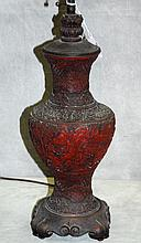 Antique Chinese cinnabar lamp in as is condition.