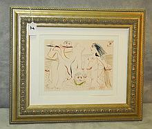 Framed Picasso Colored book plate. Overall size H:15.5