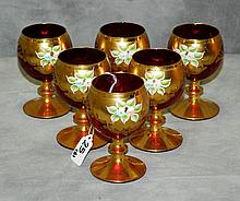 Six Gilt and enamel Bohemian glass cups. H:5
