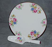 Mikasa bone china cake plate with serving piece. D:12