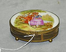 Porcelain and brass hand painted and artist signed