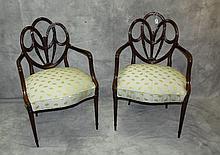 Pair 19th c Mahogany arm chairs. H:37