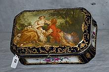 Large porcelain hinged covered sevres style box ,