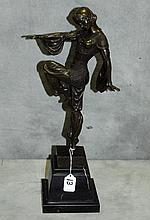 Bronze statue of woman dancer signed D. H. Chiparus.