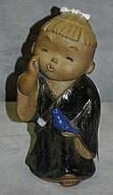 Chinese pottery figure of girl. H:11.5