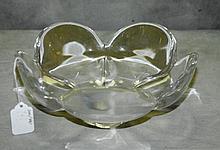Signed Orrefors crystal flower shaped bowl. H:4