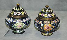 Two Chinese Peking enamel covered jars. H:5.25