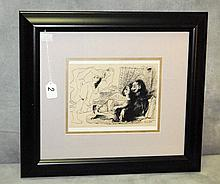 Picasso framed book plate. Overall size H:17.5