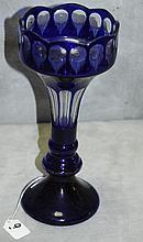Large Cobalt blue and clear crystal vase. H:12.25