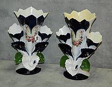 Pair old paris porcelain vases. H:13.5