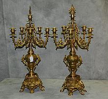 Pair antique Bronze six light candleabra with original