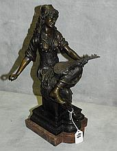 Large bronze mandolin playing girl signed E. Guillemin.