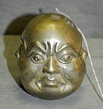 Chinese silvered bronze 4 face buddha head. H:3.5
