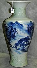 Large Chinese blue and white with celedon porcealin