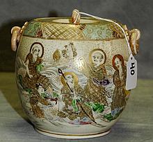 Meji Period Satsuma porcelain covered jar. H:6
