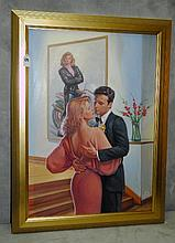 Oil on board of romantic scene. Overall size H:32