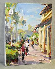 Ihor Korotash (1957-) oil on canvas walkway scene