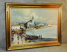 Mystery artist oil on canvas of French Riviera scene