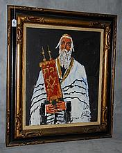 Morris Katz (1931-2010)Jewish judaica scene of Rabi oil on