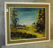 Carlos Alberto Ghio oil on panel of landscape signed