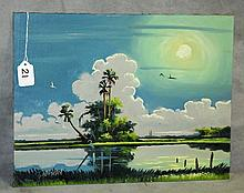 Florida Highwaymen oil on panel signed T Newton. Site