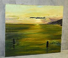 Oil on canavas of sunset over water signed and dated