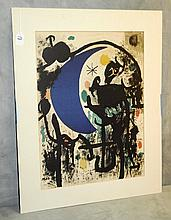 Joan Miro signed color lithograph. Site Size H:22.5