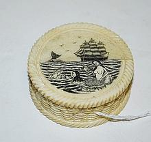 Chinese marine ivory scrimshaw compass in covered box. H:1.25