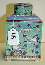 Chinese famille rose porcelain tea caddy with 6