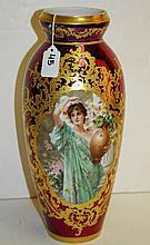 19th c. Royal Vienna porcelain vase, signed Wagner
